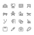 hospital and medical equipment icons set line vector image