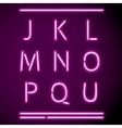 Realistic Neon Alphabet J-U vector image