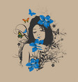 sketch summer style girl with flowers in her vector image