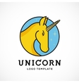 Unicorn Abstract Logo Template Line Style vector image