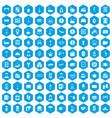 100 inn icons set blue vector image vector image