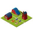 3d design for farm scene with barns and animals vector image vector image