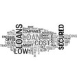 a guide to low cost secured loans text word cloud vector image vector image