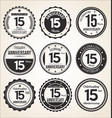 anniversary retro vintage black and white badges vector image vector image