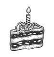 birthday cake sketch engraving vector image