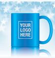 blue coffee mug vector image vector image