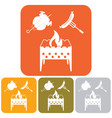 brazier chicken and sausage icon vector image