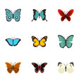 brightly colored butterfly icons set flat style vector image vector image
