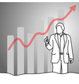businessman showing thumb up with graph arrow up vector image vector image