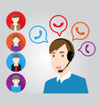 call center support personnel staff and customer vector image vector image