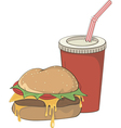 Cartoon fast food hamburger and a drink vector image