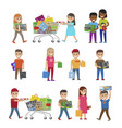 children with purchases set icons on white vector image