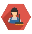Cleaning Staff Flat Hexagon Icon with Long Shadow vector image