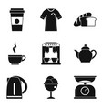coffee bar icon set simple style vector image