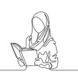continuous line muslim woman student reading a vector image