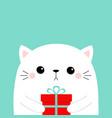cute cat holding gift box cute cartoon kitten vector image vector image