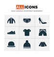 dress icons set collection of cardigan heel vector image vector image