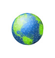 earth in low poly planet green ocean vector image vector image