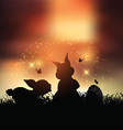 Easter bunnies at sunset vector image vector image