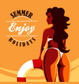 enjoy summer holidays emblem vector image vector image