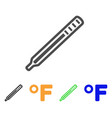 fahrenheit medical thermometer flat icon vector image vector image