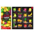 fruit chalk sketches blackboard poster template vector image vector image