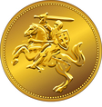 Gold money coin with knight