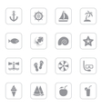 gray flat summer icon set rounded rectangle frame vector image vector image