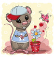 greeting card cute cartoon rat boy with flower vector image vector image