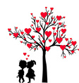 Greeting Valentines Day card with tree of hearts vector image