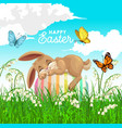happy easter poster with bunny sleep on egg vector image