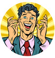happy man pop art avatar character icon vector image