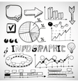 Infographic business graphs doodles vector image
