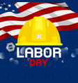 labor day design construction hat and usa flag vector image