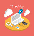 laptop technology with data services connect vector image vector image