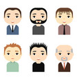 Man avatars set with smiling faces male cartoon