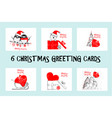 merry christmas greetings cards vector image vector image