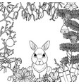 merry christmas pattern with rabbit vector image vector image