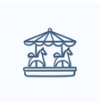 Merry-go-round sketch icon vector image vector image