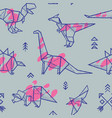 origami dinosaurs with splashes seamless pattern vector image vector image