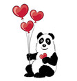 panda with a branch of a bamboo and balloons vector image vector image