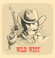 portrait man in cowboy hat with gun gunslinger vector image