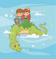 princess knight and dragon fairytale design vector image