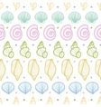 Seashells stripes line art seamless pattern vector image