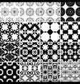 set black and white seamless patterns vector image