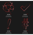 Set of fashionable red icons trending symbols Flat vector image