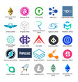 set of logos of popular cryptocurrency vector image vector image