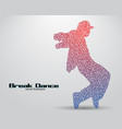 silhouette of a break dancer from triangles vector image vector image