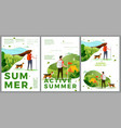 summer hiking travel posters set man woman vector image