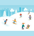 urban winter landscape with people vector image vector image